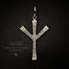Algiz. Rune from german futhark that will protect you. Made from titanium in my forge by my hands. Titanium jewelry. Handmade pendant. Collection In Thor We Trust. To order. Diy Necklaces Viking Vikings Asatru Thor Odin Diy Necklace, Jewelry Necklaces, Titanium Jewelry, Asatru, Viking Jewelry, Steel Jewelry, Body Art Tattoos, Thor, Vikings