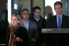 HRH Infanta Cristina and her husband Inaki Urdangarin (R) leave the courtroom at the Balearic School of Public Administration on January 11, 2016 in Palma de Mallorca, Spain.