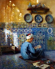 Le petit talibé in Cairo by Paul Alexandre Leroy (French, oil on canvas x 60 cm Art And Illustration, Art Arabe, Middle Eastern Art, Arabian Art, Islamic Paintings, Art Antique, Gouache Painting, Egyptian Art, Ancient Art