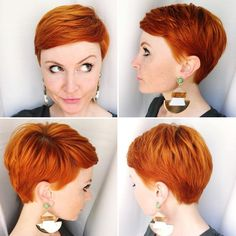 Red Pixie Cut (the style not the color) Red Pixie Haircut, Short Pixie Haircuts, Pixie Hairstyles, Short Hair Cuts, Short Hair Styles, Short Red Hair, Red Pixie Cuts, Pixie Cut Back, Edgy Pixie