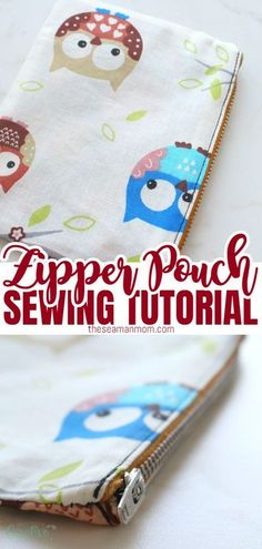 This contains: LINED ZIPPER POUCH TUTORIAL - Sewing a pouch is easy, fun and practical! Make a bunch of cute pouches with lining using this simple zippered pouch tutorial! A DIY zipper pouch is a great project for beginners to practice their zipper skills!