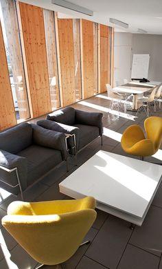 Comfortable lounge area. Kendra Bradley (Procurement, TFA)