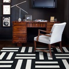 We have a FLOR rug in varying shades of blue but I love these black and white tiles.