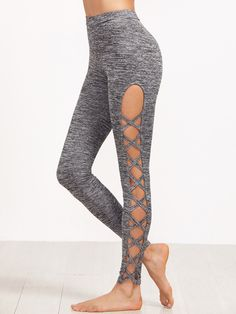 Online shopping for Grey Marled Knit Cutout Lattice Detail Leggings from a great selection of women's fashion clothing & more at MakeMeChic. Mode Des Leggings, Yoga Leggings, Workout Leggings, Cheap Leggings, Workout Pants, Knit Leggings, Yoga Pants, Cute Leggings, Knit Pants