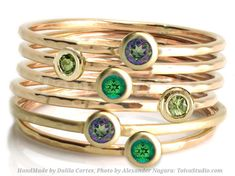 Green 14k solid gold Stacking Ring-set of 6 rings-Green Mystic Topaz -Peridot-Rainforest Topaz by ToivaStudioJewelry now at http://ift.tt/2zhvuut