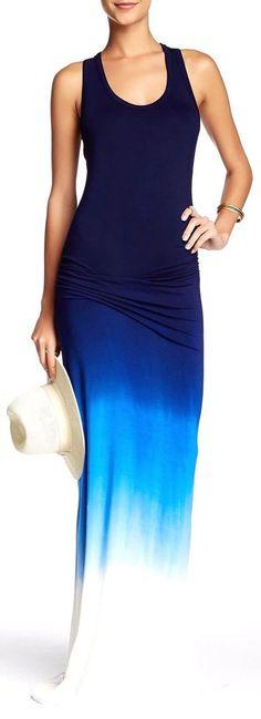 2c46164fbbc7b3 Women`s Tie Dye Ombre Dress Tank Top Casual Maxi Long Dress Dark Blue and  White