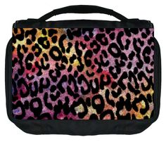 Watercolor Grunge Leopard Print Design TM Small Travel Sized Hanging Cosmetic/Toiletry Case with 3 Compartments and Detachable Hanger-Made in the U.S.A. ** Click image to review more details. (Note:Amazon affiliate link)