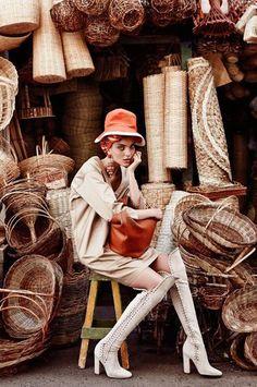 #kneehighboots #orangehat #baskets