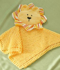 Knitting pattern for Lion Security Blanket Lovey Woobie. This blankie can double…