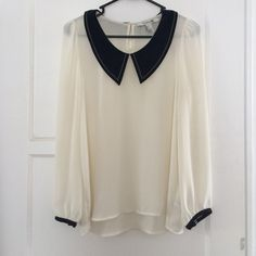 Sheer Peter Pan Collar Blouse - S Sheer cream blouse with Sailor inspired Black Peter Pan Collar - Size S, I'd wear a light cami underneath if wearing to work, or a cute bralette for casual wear! Tuck it in to a a-line skirt for a super cute outfit! Like new, I've only worn it once. Forever 21 Tops Blouses