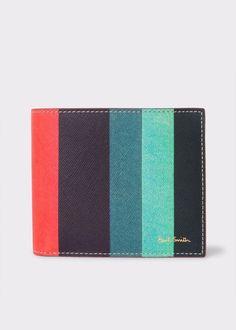 360d268fd70e Paul Smith calf leather billfold wallet with an 'Artist Stripe' print  Saffiano exterior.