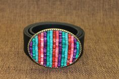 Women's Belt Buckle  Heishi beads turquoise  This by ShaggySugar, $25.00