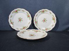 Johann Haviland Moss Rose Salad Lunch Plates Set of 3 Vtg Bavaria Fine China #JohannHaviland