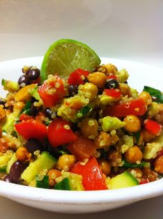 Protien Salad -  Chickpeas - Black beans - Red Pepper - Large Avocado - Lime - 1 Cucumber - Spinach - Quinoa - Tomatoes - Cayenne Pepper (optional)
