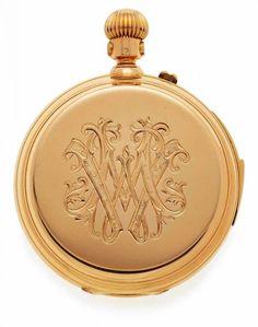 Gold-Taschenuhr mit Repetition um 1890 18 kt. GG-Gehäuse Nr. 14698 und 3 Deckel, Sprungdeckel mit M