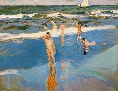 'niños en el mar', óleo de Joaquin Sorolla Y Bastida (1863-1923, Spain)
