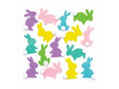 Buy Bunny Pom Pom Felt Stickers at Baker Ross. With their pastel spring colours and pom pom tails, these lovely bunnies will delight without fail! Craft Stick Crafts, Easy Crafts, Arts And Crafts, Craft Ideas, Bunny Crafts, Easter Crafts For Kids, Wooden Bird Feeders, Easter Stickers, Easter Bunny Decorations