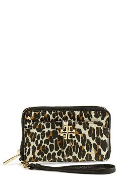 Tory Burch 'Plaque' Leopard Print Smartphone Wristlet available at #Nordstrom