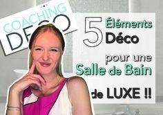 Dans cette vidéo je vous donne les 5 éléments qui vont faire de votre salle de bain un véritable espace de détente et de bien être franchement luxueux! Vous êtes prêts pour les conseils déco? C'est parti! Naturellement, si vous avez besoin d'un petit coup de pouce, je serais ravie de vous aider! 😃 Coaching, Outer Space, Tips, Room, Training