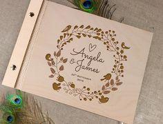 Księga gości weselnych DREWNIANA 100 stron - LetterpressForYou - Ślubne księgi…