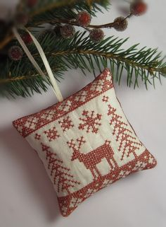 Cross Stitched Folk Art Ornament  deer by CherieWheeler on Etsy, $9.00