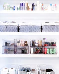 Nashville team did an AMAZING job organizing bathroom closet. 💜   They used our THE drawers and divided bins for smaller categories, baskets for bulk items and turntables on hard to reach shelves! Teen Closet Organization, Vanity Organization, Bathroom Organisation, Organization Ideas, The Home Edit, Bedroom Decor For Teen Girls, Bathroom Closet, Bathroom Inspiration, Bathroom Ideas