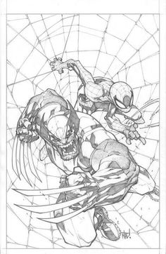 Wolverine and Spider-Man pencils by Joe Madureira Joe Madureira, Comic Book Artists, Comic Book Characters, Comic Artist, Comic Books Art, Bd Comics, Marvel Comics, Wolverine Art, Wolverine Cosplay
