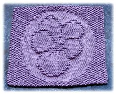 Pretty Purple Pansy Dishcloth pattern by Rachel van Schie Knitting Squares, Dishcloth Knitting Patterns, Knit Dishcloth, Knitting Charts, Knitting Stitches, Knit Patterns, Free Knitting, Knitted Washcloths, Knitted Afghans