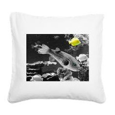 black white splash fish Square Canvas Pillow by MehrFarbeimLeben - CafePress Square Canvas, Pillow Design, Tapestry, Fish, Black And White, Pillows, Animals, Color, Hanging Tapestry