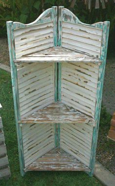 10 Ways You've Never Thought To Reuse Old Shutters - DIY Zero - Best Picture For shutters repurposed farmhouse For Your Taste You are looking for something, and - Furniture Projects, Furniture Makeover, Diy Furniture, Diy Projects, Furniture Stores, Antique Furniture, Modern Furniture, Garden Furniture, Bedroom Furniture