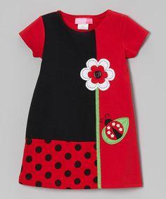 Good Lad Red Ladybug Color Block Ponte Dress - Toddler | zulily