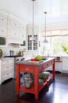 want to do this with my farm table...not sure about red...but a color on the legs!