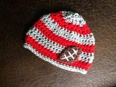Crochet beanie with football by creativehatsandmore on Etsy, $22.00