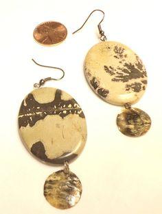 Earrings Brown and Tan Large Stone Dangle OOAK by CindyDidIt, $8.00