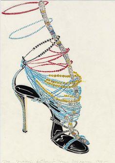Manolo Blahnik sketch for Dior Haute Couture by John Galliano (1997)