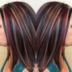 Chunky highlight red blonde brown http://niffler-elm.tumblr.com/post/157400195386/hairdos-for-short-hair-2017-short-hairstyles