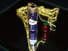 Poison and Apple Wicked Queen Vial and Charm Necklace