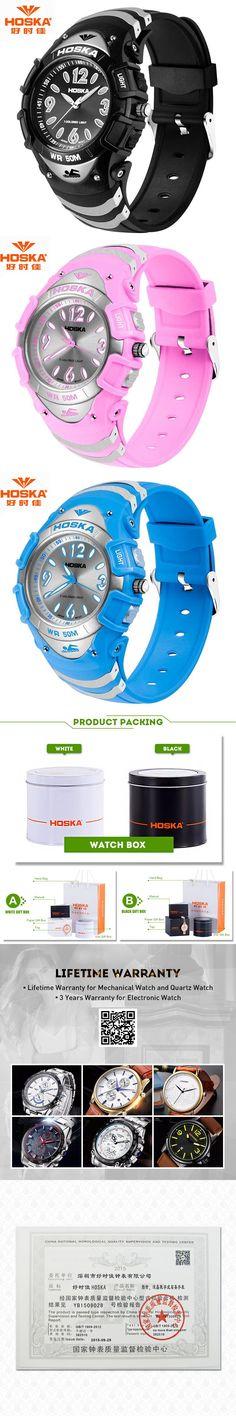 Children Digital Watch Famous Brand HOSKA Unisex Sport LED Display Back Light Rubber Plastic Band Quartz Wristwatches Kids H804