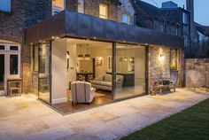Copper-clad extension by Alexander Owen Architecture. House Extension Design, Glass Extension, Extension Designs, Extension Ideas, Copper House, Sandstone Paving, Interior Design Gallery, Aluminium Doors, Elegant Living Room