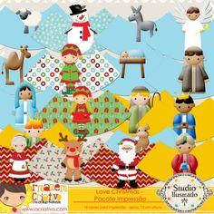 Pacote Love Christmas - Cone com Armazém Criativo, Cones, Presépio, Natal, Crib, Christmas