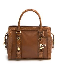 Look what I found on #zulily! Brown Studded Collins Leather Satchel #zulilyfinds