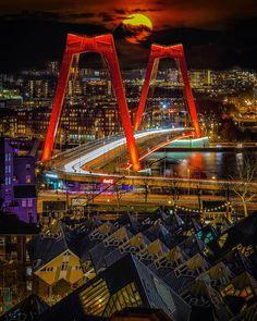 Rotterdam Architecture, Futuristic Architecture, Rotterdam Skyline, Night Run, Rotterdam Netherlands, Bridge Design, Paradise On Earth, San Fransisco, Sydney Harbour Bridge