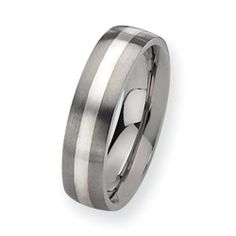 Titanium Sterling Silver Inlay 6mm Satin Comfort Fit Wedding Band (Size 6-13) Vishal Jewelry. $99.00. Availability: 1 to 2 Business Days. Metal: Titanium. Fit: Comfort Fit. Gender: Male / Female