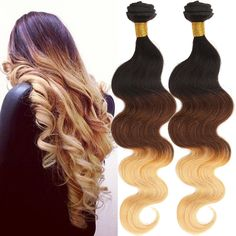 "16"" Grade 6A 100% Real Human Hair Extension Ombre Body Wave US Ship Wefts #WIGISS #HairExtension"