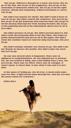 She. Let. Go... amazing poem by Safire Rose