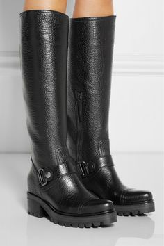 MIU MIU Buckled textured-leather knee boots $1,869