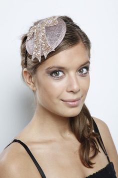 Bespoke sinamay fascinator with silvery sequin bow