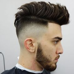Brushed Up Hair + Undercut Skin Fade + Line Up + Beard