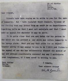 Mahatma Gandhi's 'Dear Friend' Letter to Adolf Hitler ~ Kuriositas