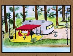 Airstream Camper Trailer by the lake floor mat